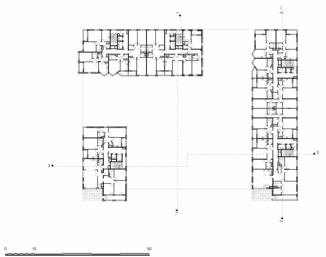 Residential complex in the proximity of the Nagatinsky Creek. Plan of the typical floor © Ostozhenka