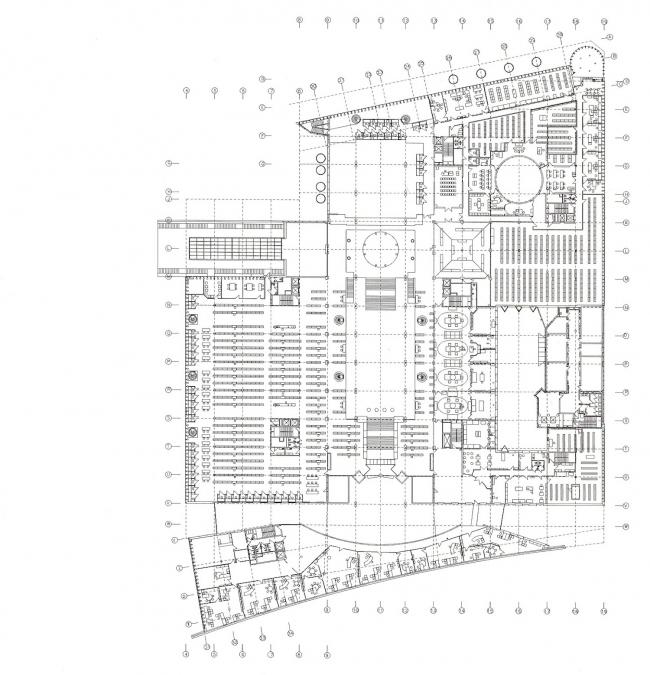 """Библиотека Варшавского университета. План -2 этажа. Постройка, 2000. Фотография © Архитектурная мастерская """"Budzynski & Badowski"""""""