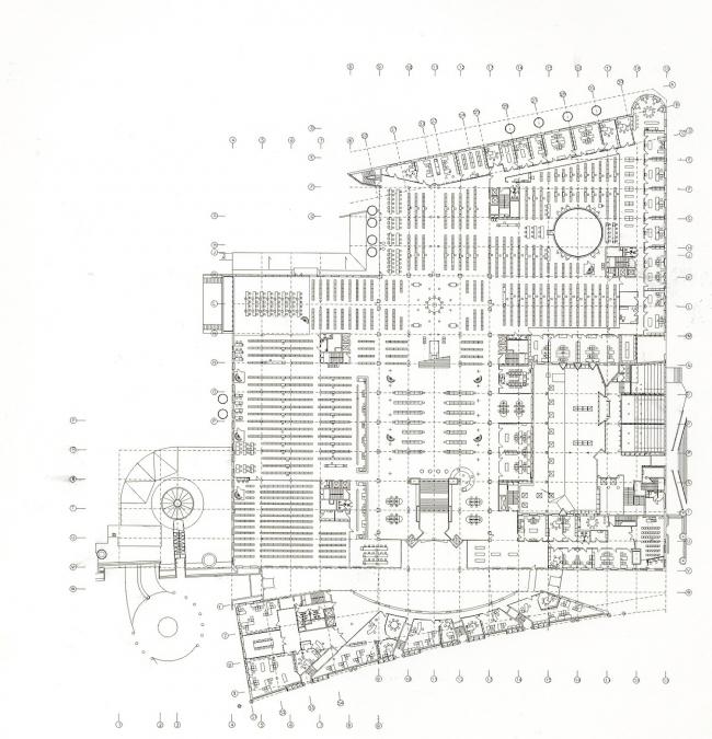 """Библиотека Варшавского университета. План -1 этажа. Постройка, 2000. Фотография © Архитектурная мастерская """"Budzynski & Badowski"""""""