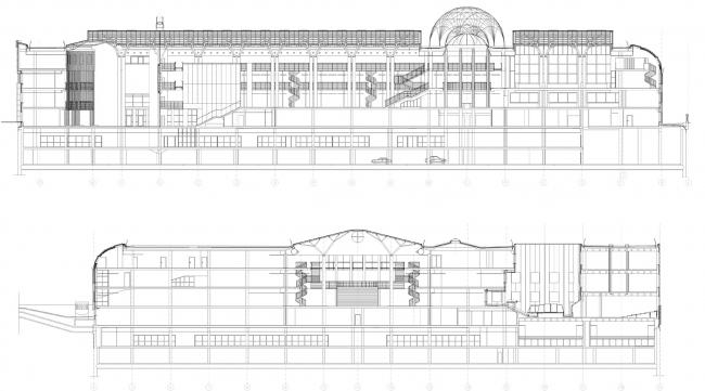 """Библиотека Варшавского университета. Разрез. Постройка, 2000. Фотография © Архитектурная мастерская """"Budzynski & Badowski"""""""