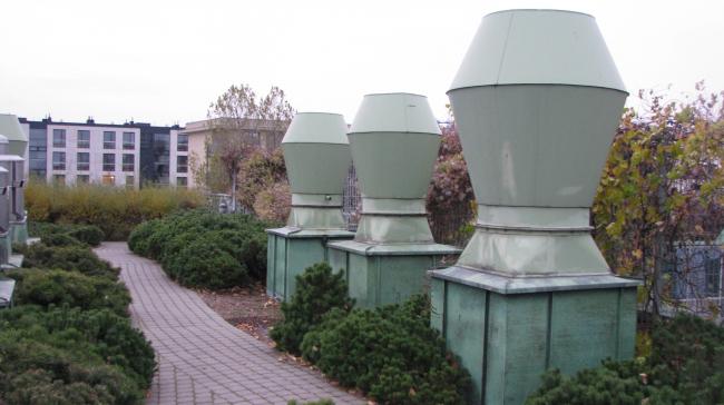 Библиотека Варшавского университета. Сад на крыше. Постройка, 2000. Фотография © Ирина Бембель