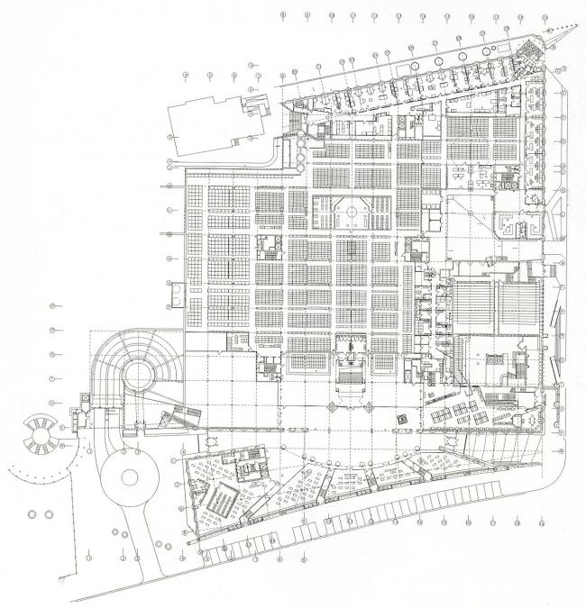 """Библиотека Варшавского университета. План 1 этажа. Постройка, 2000. Фотография © Архитектурная мастерская """"Budzynski & Badowski"""""""