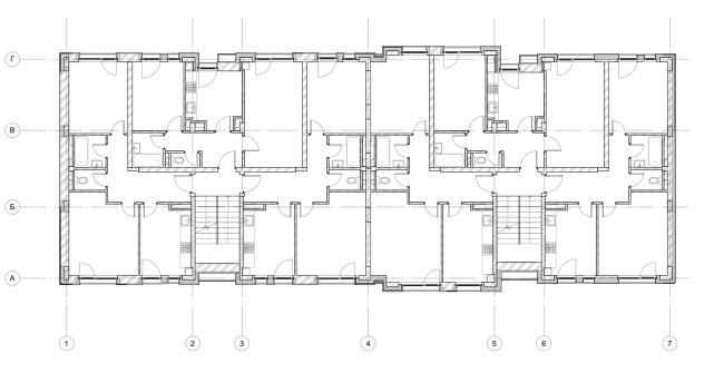 Жилой комплекс «Голландский квартал» в Ивантеевке. Дом 1, план 2 этажа. Постройка, 2015 © UNK project