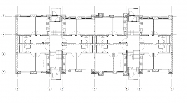 """""""Dutch Quarter"""" residential complex in Ivanteevka. Building 1, plan of the first floor. Construction, 2015 © UNK project"""
