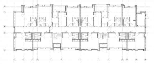 Жилой комплекс «Голландский квартал» в Ивантеевке. Дом 2, план 1 этажа. Постройка, 2015 © UNK project