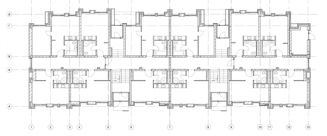 """""""Dutch Quarter"""" residential complex in Ivanteevka. Building 2, plan of the first floor. Construction, 2015 © UNK project"""