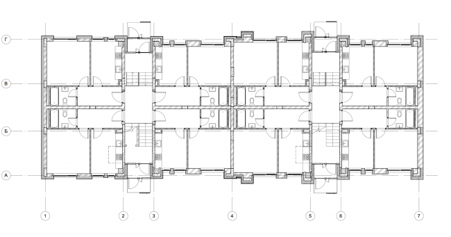 """Dutch Quarter"" residential complex in Ivanteevka. Building 3, plan of the first floor. Construction, 2015 © UNK project"