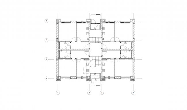 """""""Dutch Quarter"""" residential complex in Ivanteevka. Building 4, plan of the first floor. Construction, 2015 © UNK project"""