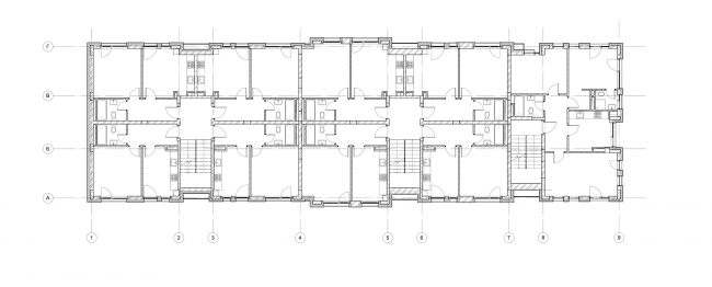 """""""Dutch Quarter"""" residential complex in Ivanteevka. Building 5, plan of the first floor. Construction, 2015 © UNK project"""