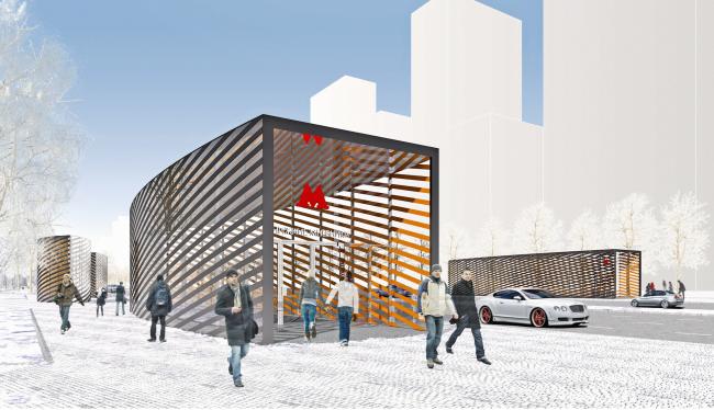 """Nizhnie Mnevniki"" metro station. Pavilion. Contest project, 2015 © DNK ag"