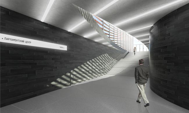 """Nizhnie Mnevniki"" metro station. Underground crossing. Contest project, 2015 © DNK ag"