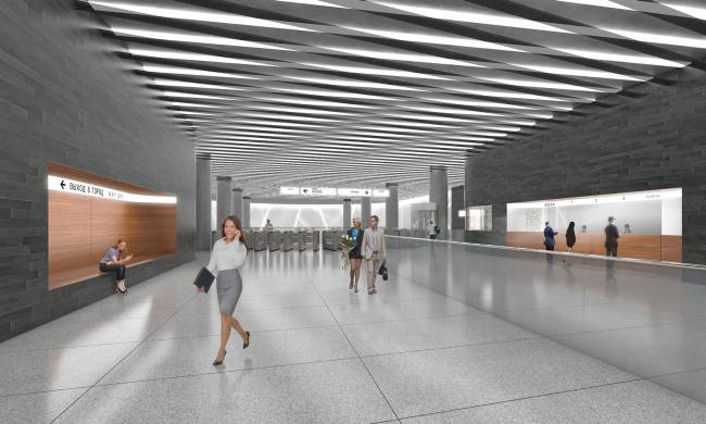 """Nizhnie Mnevniki"" metro station. Ticket area. Contest project, 2015 © DNK ag"