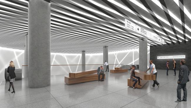"""Nizhnie Mnevniki"" metro station. Escalators. Contest project, 2015 © DNK ag"