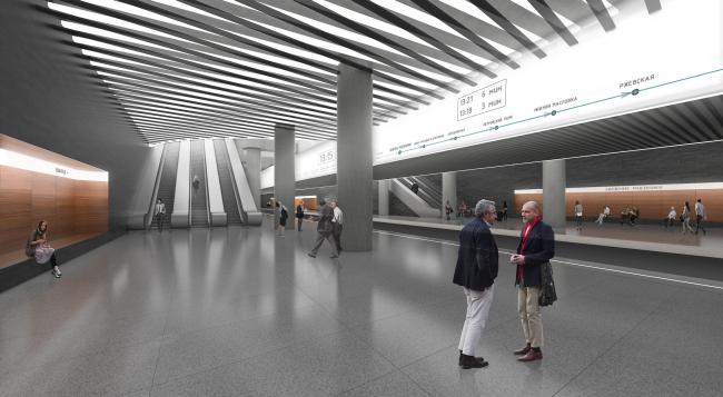 """""""Nizhnie Mnevniki"""" metro station. Platform. Contest project, 2015 © DNK ag"""