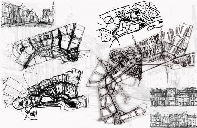 Архитектурно-планировочная концепция жилой застройки в Кирове. Эскизы. Проект, 2015 © Архстройдизайн