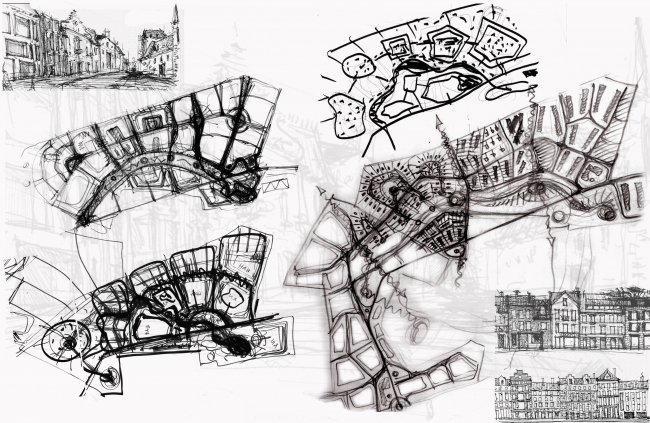 The architectural and planning concept of the residential projectin Kirov. Sketches. Project, 2015 © Archstroydesign