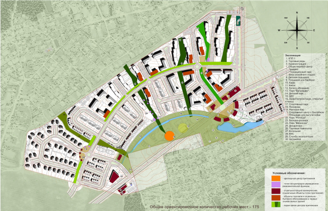The architectural and planning concept of the residential projectin Kirov. Map of socially active centers. Project, 2015 © Archstroydesign