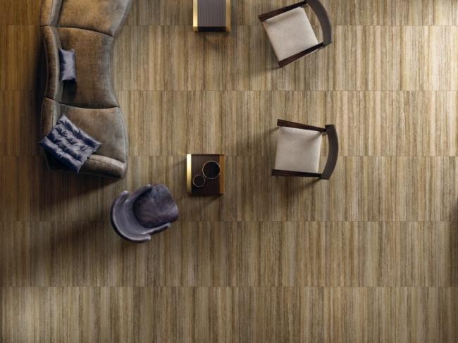 Керамогранит Travertino+ Силвер Патинированный в формате 45х90 см. © Италон – ЗАО «Керамогранитный завод»
