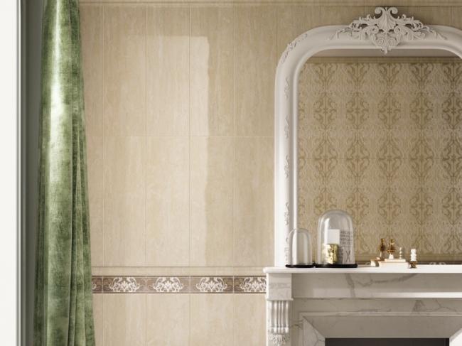 На стене ванной комнаты Travertino+ Навона в формате 25х75 см. © Италон – ЗАО «Керамогранитный завод»