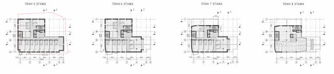 "Butterfly Hotel Complex. Plans of the floors © ""Bogachkin & Bogachkin"" Bureau"