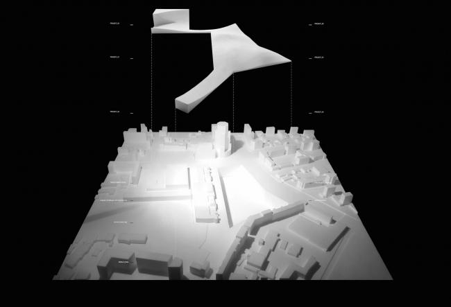 """The project for a transfer hub """"Paveletskaya"""". Model, shape. 2015 © WALL bureau"""