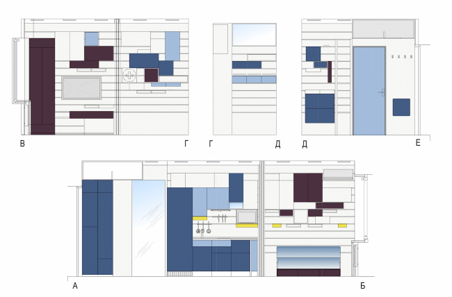 Концепция дизайна малогабаритных квартир. Развертка варианта «Минимализм» © Arch group