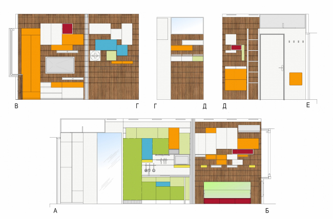 """Design concept for efficiency apartments. Development drawing of """"Multicolored"""" project © Arch group"""