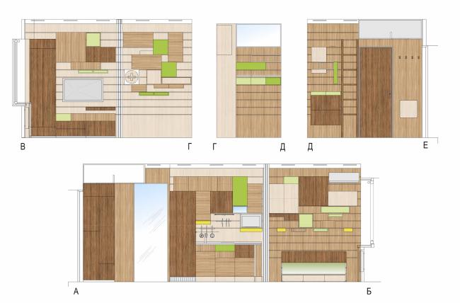 Концепция дизайна малогабаритных квартир. Развертка варианта «Эко» © Arch group