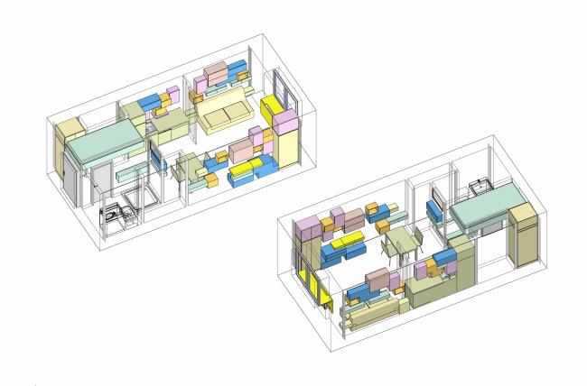 Концепция дизайна малогабаритных квартир. Варианты размещения мебельных модулей © Arch group