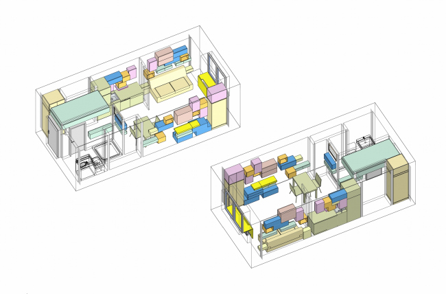 Design concept for efficiency apartments. Options for placing the furniture modules © Arch group