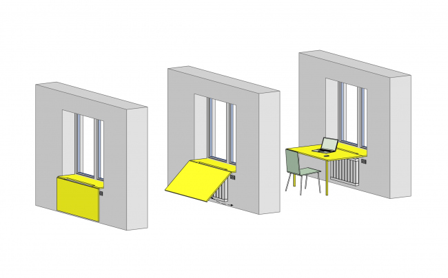 """Design concept for efficiency apartments. The functional diagram of the folding """"windosil table"""" © Arch group"""
