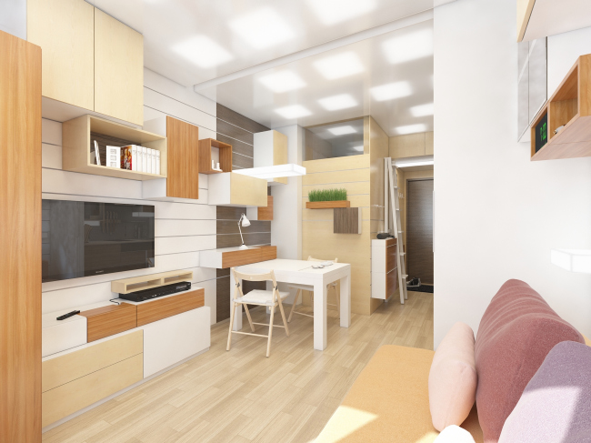 "Design concept for efficiency apartments. ""Tetris"" option © Arch group"