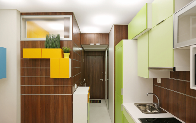 Design concept for efficiency apartments. Photographs © Arch group