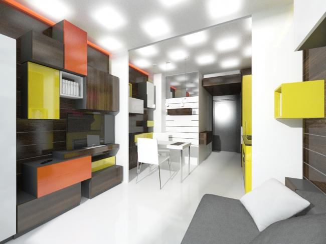 Концепция дизайна малогабаритных квартир. Проект © Arch group