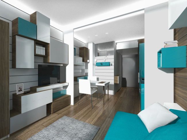 Design concept for efficiency apartments. Project in the blue colors © Arch group