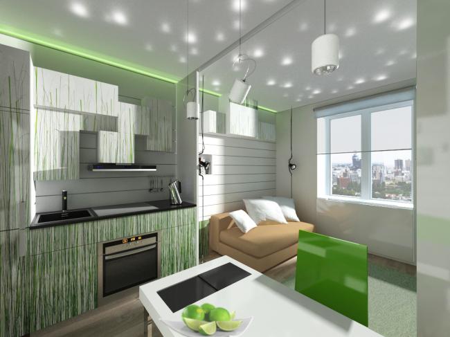 Концепция дизайна малогабаритных квартир. Вариант «Трава» © Arch group