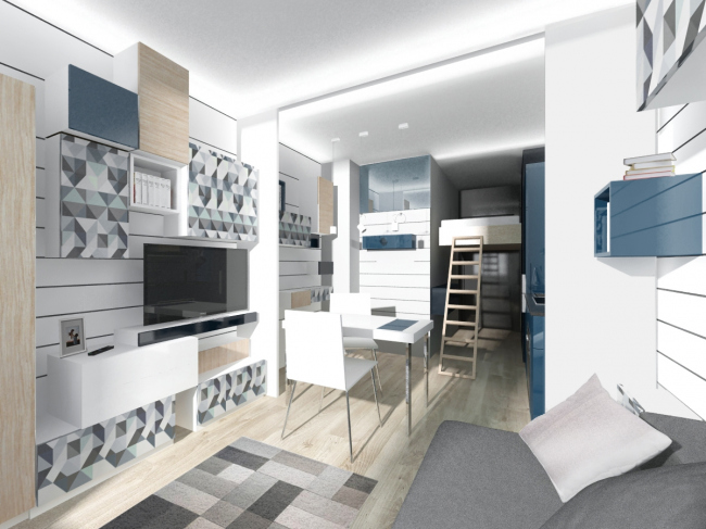 Концепция дизайна малогабаритных квартир. Проект в синих тонах © Arch group