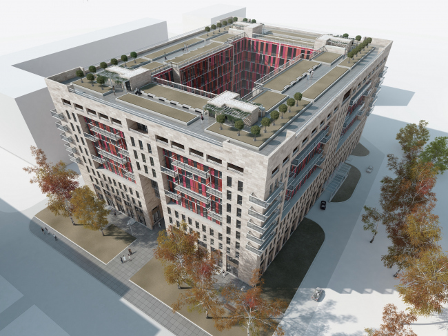 Апарт-отель на Таллинской улице. Аксонометрия. Проект 2013 © Архитектурная мастерская А.А. Столярчука