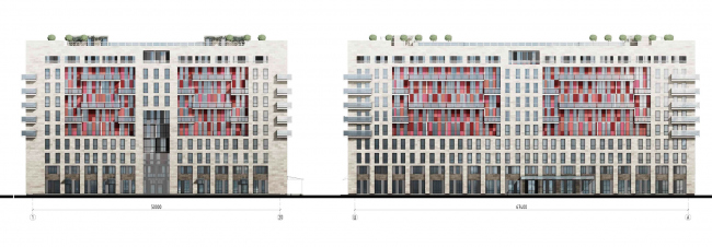 Апарт-отель на Таллинской улице. Фасады. Проект 2013 © Архитектурная мастерская А.А. Столярчука