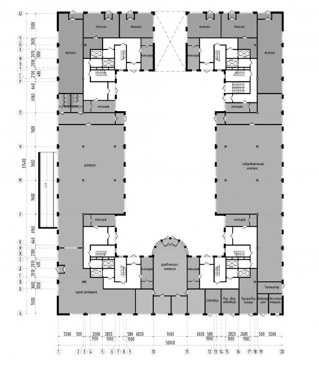 Апарт-отель на Таллинской улице. План 1 этажа. Проект 2013 © Архитектурная мастерская А.А. Столярчука