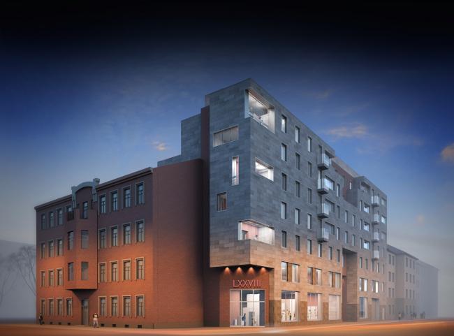 Многоквартирный дом на улице Мира. Проект, 2014 © Архитектурная мастерская А.А. Столярчука