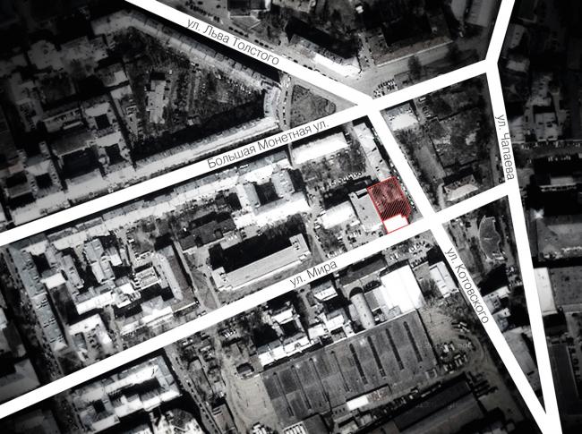 Многоквартирный дом на улице Мира. Проект, 2014. Ситуационный план © Архитектурная мастерская А.А. Столярчука