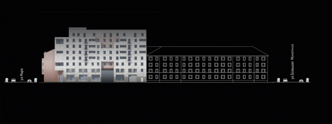 Многоквартирный дом на улице Мира. Развертка по улице Котовского. Проект, 2014 © Архитектурная мастерская А.А. Столярчука