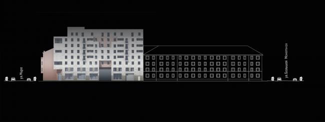 Multiapartment building at Mira Street. Development drawing along the Kotovsky Street. Project, 2014 © Anatoliy Stolyarchuk Architectural Studio