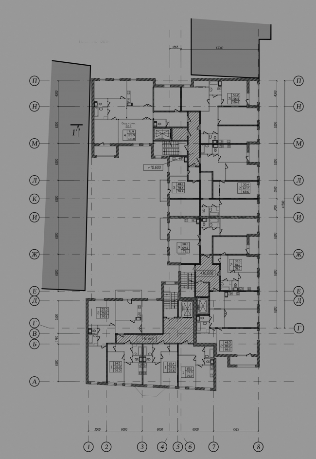 Multiapartment building at Mira Street. Plan of the typical floor. Project, 2014 © Anatoliy Stolyarchuk Architectural Studio