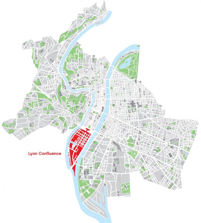 Район Конфлюанс в масштабе города. (информация с сайта http://www.lyon-confluence.fr/)