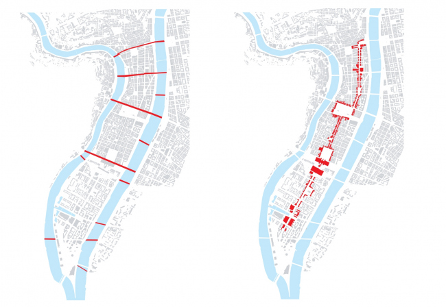 Слева: существующие и проектируемые поперечные связи полуострова с соседними районами. Справа: система центральных улиц и площадей полуострова. (информация с сайта http://www.lyon-confluence.fr/)