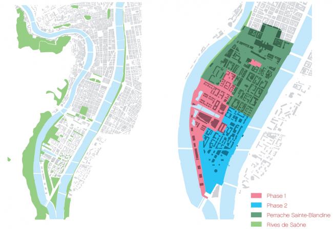 Слева: система парков и озелененных пространств. Справа: секторы района и фазы его реконструкции. (информация с сайта http://www.lyon-confluence.fr/)