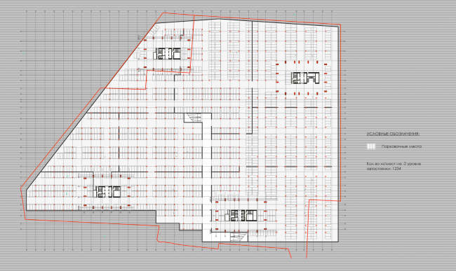 Multifunctional residential complex on the 5th Donskoy Proezd. Plan of the second floor. Project, 2015 © ABV Group