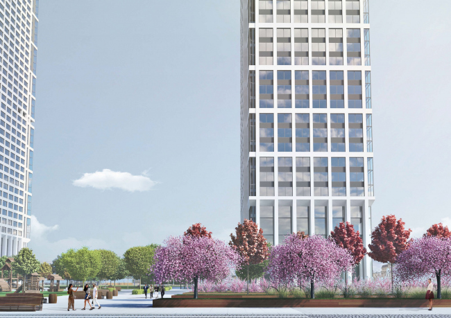 Multifunctional residential complex on the 5th Donskoy Proezd. 4 towers. Landscaping. Project, 2015 © ABV Group
